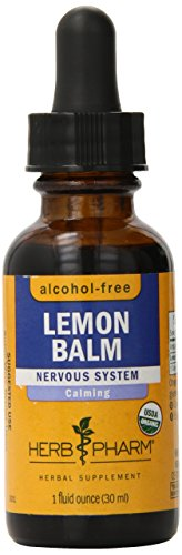 Herb Pharm Alcohol-Free Lemon Balm Glycerite for Calming Nervous System Support - 1 Ounce