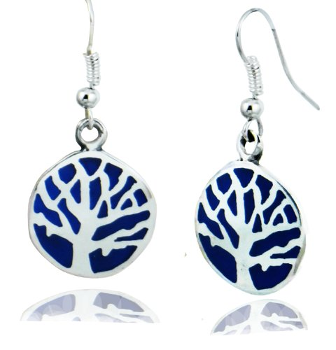ARTCAMP Fair Trade Alpaca Silver & Blue Tree of Life Dangle Earrings