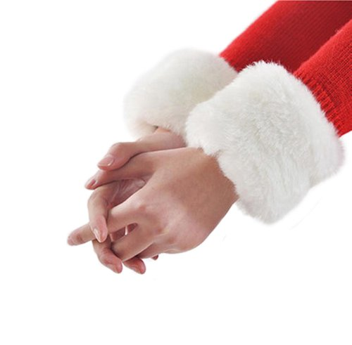 Coo2Day Girls Soft Faux Fur Wrist Band Ring Cuff Warmer (Model: Yf010398) (White)