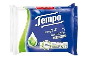 Tempo feuchte Toilettentücher sanft & sensitiv Nachfüllpackung, 4er Pack (4 x 42 Tücher)
