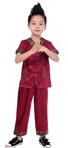 Smile YKK(TM) Kids Tang Suit Kung Fu Outfit Short Sleeve Martial Dragon