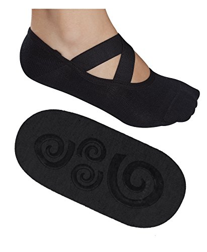 Lupo Women's Essential No Slip Crossover Yoga Pilates Barre Socks, Medium Black