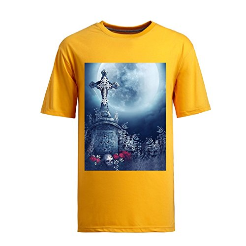 Kumiu Hhen Men by Night Skull with Grave Short Sleeve Cotton Soft Tops T-shirts