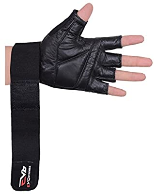EVO Fitness Pure Leather Weightlifting Gloves Gym Wrist Straps Cycling Glove Black from EVO Fitness