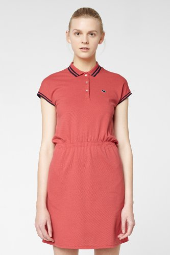 L!VE Short Sleeve Stretch Pique Tipped Polo Dress