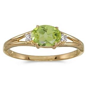 14k Yellow Gold Oval Peridot And Diamond Ring (Size 8.5)