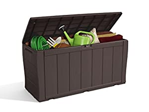 Keter Sherwood Plastic Storage Box Container Outdoor Garden Furniture, 270 L - Brown