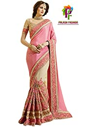 Palash Fashion's Royal Looking Pink And Beige Color Satin Chiffon And Net Fancy Designer Saree