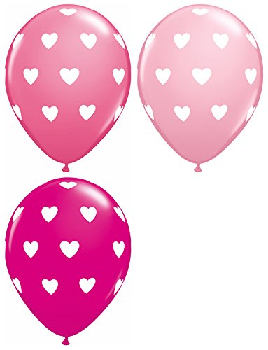 "PIONEER BALLOON COMPANY Assorted Round Big Hearts, 11"", Pink Berry"