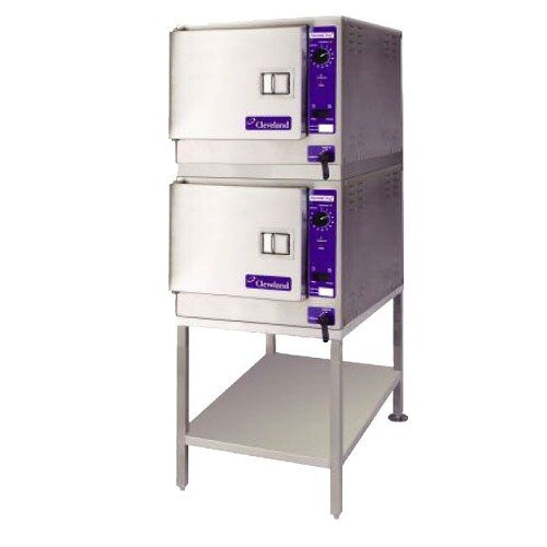 240V Single Phase Cleveland (2) 22Cet3.1 Steamchef 3 Double Deck Six Pan Electric Floor Steamer