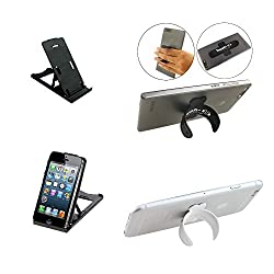 Mobilegear Portable Mobile Stand with Silicon Foldable Stand for Tablet & Mobile - 2 IN 1 Combo Pack