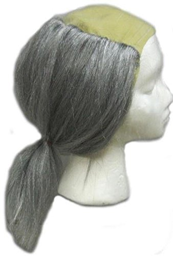 [Popcandy Gravedigger Wig Bald Cap with Long Gray Hair Attached Ben Franklin] (Ben Franklin Adult Mens Costumes)