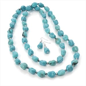 Ladies Contemporary Fashion Turquoise Colour Bead Set Brand New