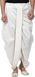 Royal Mens White Silk Blend Luxury Ready Made Dhoti