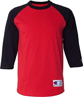 Buy Champion 6.1 oz. Tagless Raglan Baseball T-Shirt - OXF GRY SCARLET - S 5.2 oz. by Champion