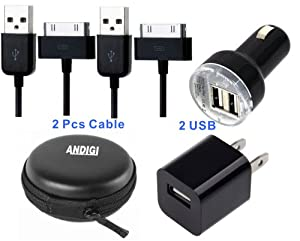 ANDIGI 4-in-1 Dual USB Car Charger + 2 USB Data Charging Cable + Wall Charger + Hard Case for IPhone 4 and 4s, iPad with Apple Inc. Certified
