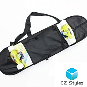 EZ Styles Extreme Sport Skateboard Bag Backpack Carry Case (Black) with helmet and accessory bag net