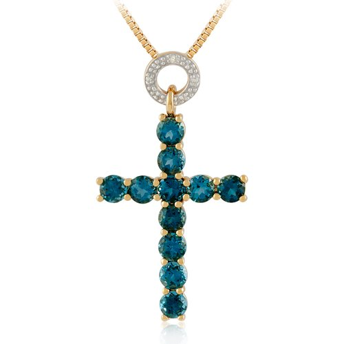 Sterling Silver with Yellow Gold Plating London Blue Topaz and Diamond-Accented Cross Pendant Necklace, 18