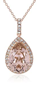 "Gold Plated Sterling Silver and Swarovski Elements Crystal Pear Shape Pendant Necklace, 18"" from The Aaron Group - HK DI"