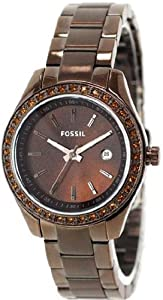 Women Watch Fossil ES3022 Chronograph Stainless Steel Case and Bracelet Brown D Women Watch Fossil