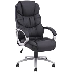 High Back Leather Office Desk Chair with Metal Base (Black)