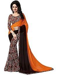 Lady Loop Cotton Silk Saree (Trump Orange_Blue)