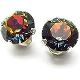 925 Silver stud earrings handmade with Volcano crystal from SWAROVSKI®.