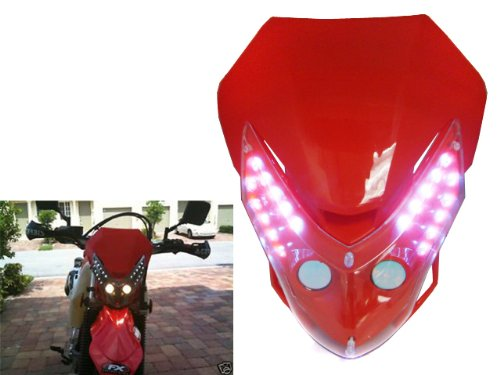 Unverisal Motorcycle Supermoto Supercross Motocross Off-Road Enduro Dirt Bike Dual Sport Red Headlight Fairing Kit for Yamaha KTM Honda Kawasaki BMW Suzuki