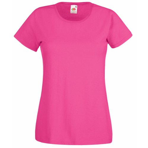 Fruit Of The Loom NEW Lady Fit Valueweight T-Shirt Fuchsia L