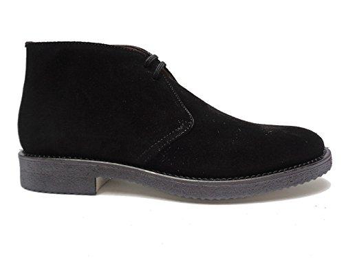 Antica Cuoieria scarpe casual da uomo in camoscio Nero fondo in para,n. 44