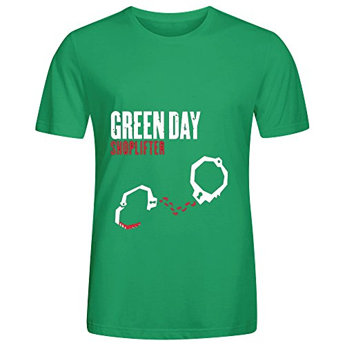 Green Day Shoplifter Funk Album Cover Mens Crew Neck Graphic T Shirts Green (Braun Fan Parts compare prices)