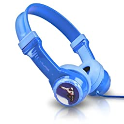 JLab Audio JBuddies Kids- Volume Limiting Headphones, GUARANTEED FOR LIFE - Blue