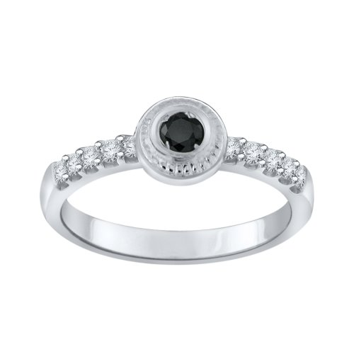 Sterling Silver Black and White Simulated Diamond Ring