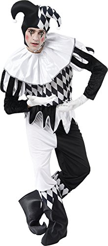 Mens Clown & Circus Halloween Fancy Party Harlequin Jester Complete Costume