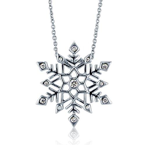 Berricle 925 Sterling Silver Cubic Zirconia Cz Snowflake Women Fashion Pendant Necklace