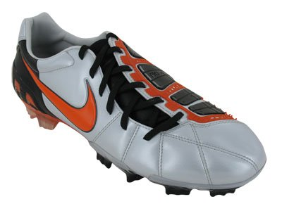 Nike Men's NIKE TOTAL90 LASER III FG SOCCER CLEATS 7.5 (MTLC PLATINUM/ORANGE  BLAZE