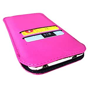 i-KitPit Genuine Leather Pouch Case For Lg Optimus L4Ii Dual (E445) / L4Ii (Pink)