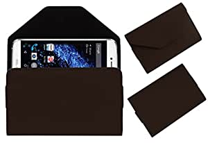 Acm Premium Flip Flap Pouch Case For Blu Studio One Mobile Leather Cover Magnetic Closure Brown