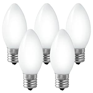 C7 - Ceramic White - 5 Watt - Candelabra Base - Christmas Lights - 25 Pack