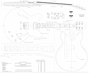 full scale plans for the gibson es335 archtop jazz electric guitar musical instruments. Black Bedroom Furniture Sets. Home Design Ideas