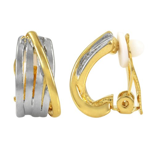 Susan's Wrapped Half Hoop Clip On Earrings - Two Tone