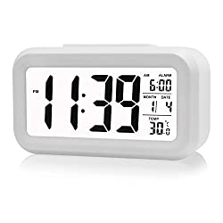 THUNBIRD Digital LCD Large Screen Alarm Clock Multi-function with Snooze Function, Calendar, Date, Week, Month And Temperature Display(F/C) Great for Children Women Elderly People (White)