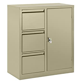 Edsal 3801pu steel pre assembled combo cabinet with 3 file for Pre assembled cupboards