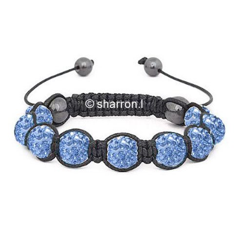 Nambeads © LIGHT BLUE Swarovski Crystal Bead SHAMBALLA BRACELET with 9 Iced out Disco ball beads covered in crystals and 4 highly polished Hematite beads. Beautiful handmade high quality Celebrity Fashion bracelet. Check our range of colours.