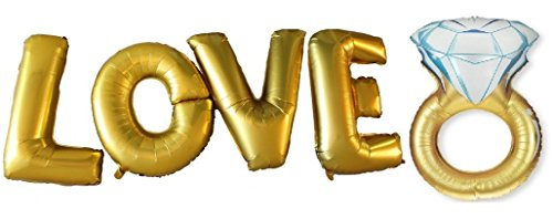 Skylly LOVE And RING LARGE BALLOON SET, Romantic Wedding, Bridal Shower, Anniversary, Engagement Party Décor (Bridal Shower Seals compare prices)