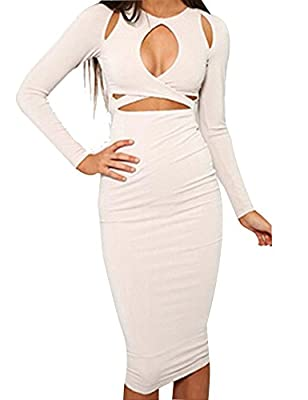 Allegrace Womens Sexy Long Sleeves Slim Bodycon Party Bandage Club Dresses