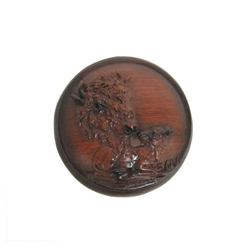 Mother Buffalo and Baby Faux Wood Trinket Box - 1
