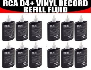 (12) TWELVE BOTTLES - RCA Discwasher #RD-1046 1.25 oz. D4+ Vinyl Record Cleaning Fluid Refills + BONUS Super Deal Microfiber Cleaning Cloth
