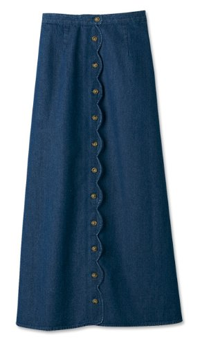 Scalloped Button-front Denim Skirt, Dark Indigo, 10