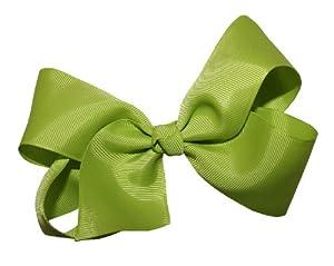 WD2U Girls' Extra Large GrosGrain Knot Hair Bow Alligator Clip Apple Grn 1092A